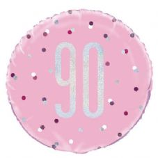 Pink Glitz  '90th' Foil Balloon